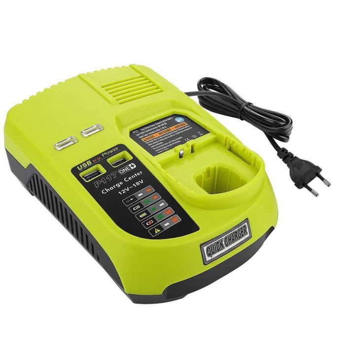 Akku Ladegerät 12V 14,4V 18V mit 2x USB für Ryobi Li-Ion Ni-MH Ni-CD Akkus