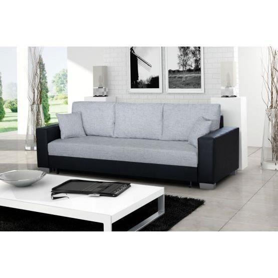 canap convertible 3 places mike gris noir achat vente canap sofa divan pu tissu bois. Black Bedroom Furniture Sets. Home Design Ideas
