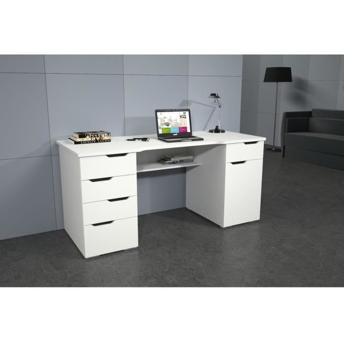 lago bureau 5 tiroirs 1 porte 160cm blanc laqu achat vente bureau lago bureau blanc laqu. Black Bedroom Furniture Sets. Home Design Ideas
