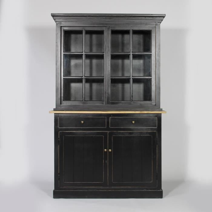 buffet vaisselier 2 corps bari noir noir achat vente buffet bahut buffet vaisselier 2. Black Bedroom Furniture Sets. Home Design Ideas