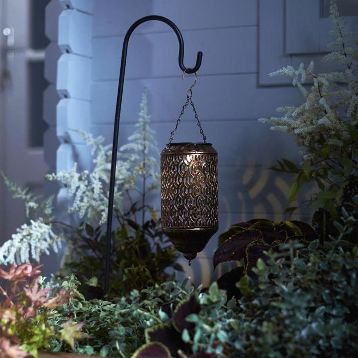 Lanterne Solaire Marocaine Bronze LED Blanc Chaud - Achat ...