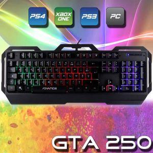 CLAVIER D'ORDINATEUR Clavier Gamer PRO GTA 250 Rétro éclairé Rainbow 7
