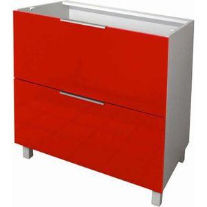 ELEMENTS BAS Meuble bas 2 tiroirs - 80cm - Rouge