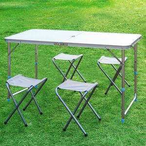 TABLE ET CHAISES CAMPING Finether Table de Camping Pliante avec 4 Tabourets