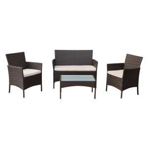 Ensemble table et chaise de jardin CORFOU Salon de jardin en résine tressée marron 4