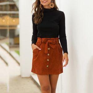 JUPE Femmes mode Corduroy Hight Bouton de taille Bow Po