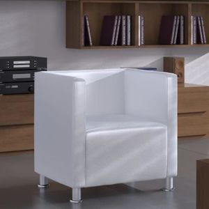 FAUTEUIL Fauteuil Design de cube Cuir synthétique Blanc Fau