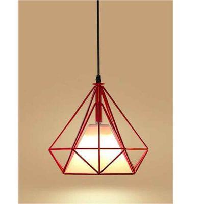 STOEX® Suspension Forme Diamant Contemporain E27 - Corde  Ajustable-Luminaire Salle à Manger, Bar, Salon Rouge
