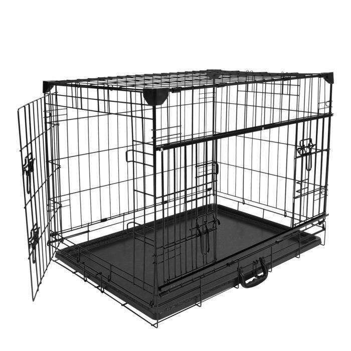 DUVO+ Cage Fer Ninja Edition avec porte coulissante 76 x 53 x 61 cm - 9,3 kg - Noir - Pour chien