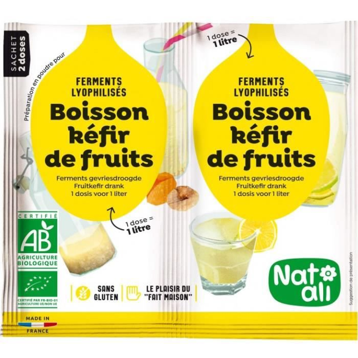 Préparation en poudre pour créer votre boisson fait-maison de kéfir de fruit.