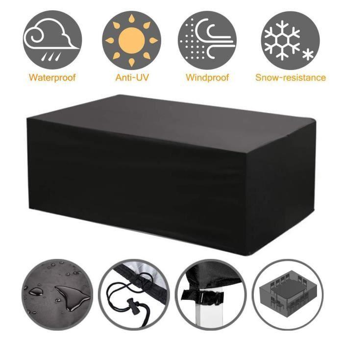Housse de Protection Salon de Jardin Table Bâche Rectangulaire 270x180x89cm Couverture de Meubles Imperméable Anti-poussière Anti-UV