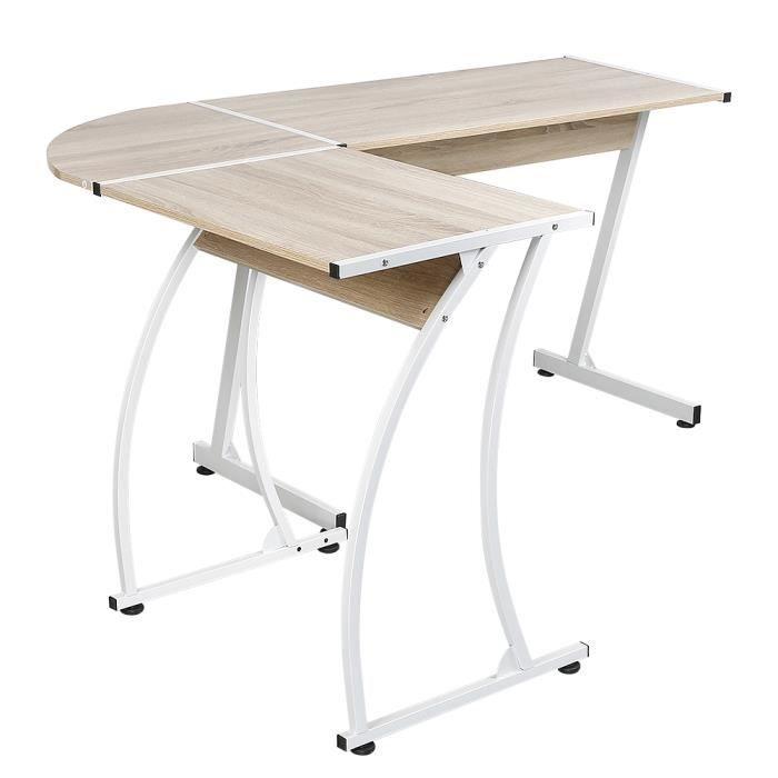 Bureau d'angle, table de bureau HOMPOT style contemporain 99-64 * 48 * 73 cm couleur chêne