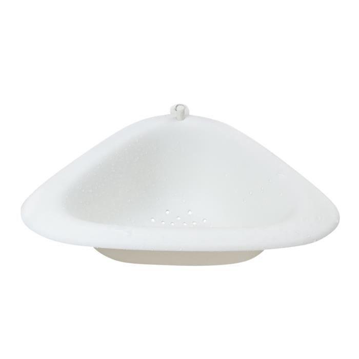 Support de Rangement d'évier Triangulaire Plateau de Drainage avec Ventouse évier de Cuisine Coin Suspendu Panier - blanc