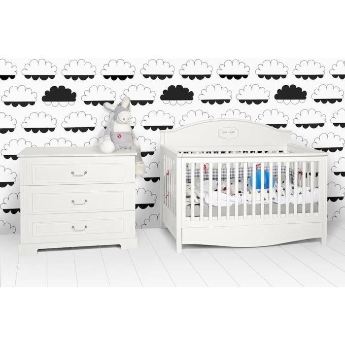 Ensemble meubles bébé : lit évolutif 70x140 cm + commode