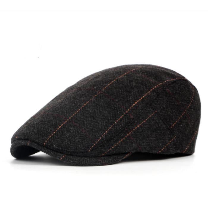 Hommes Chapeau réglable Style à Rayures béret Casquette Plate Vintage Homme d'âge mûr Rétro Homme Chapeau