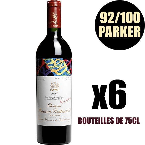 X6 Château Mouton Rothschild 2011 Rouge 75 cl AOC Pauillac 1er Cru Classé Vin Rouge