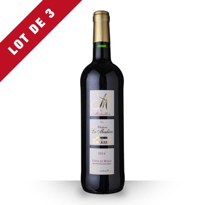 3X Château la Moulière Médaillon 2014 Rouge 75cl AOC Côtes de Duras - Vin Rouge