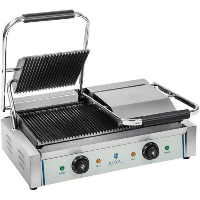 Machine à panini nervurée double - 2 x 1.800 watts acier inox professionnel 3614037
