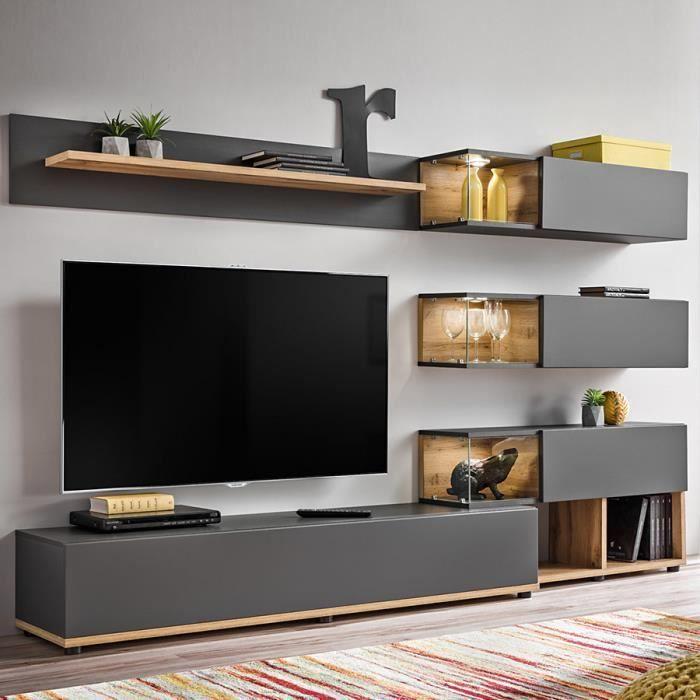 Ensemble meuble TV gris et couleur bois RUFFANO Gris L 240 x P 40 x H 180 cm