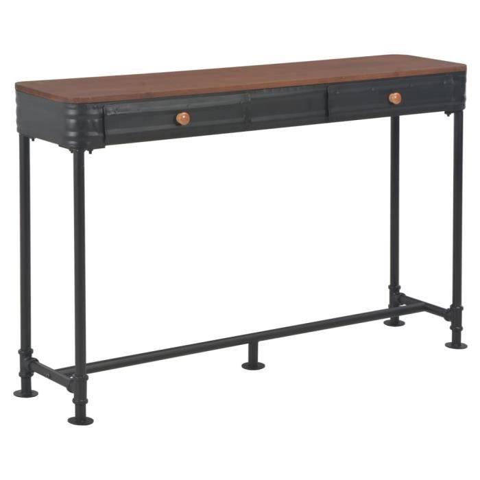 Haute qualité -Table d'Appoint Table console Table d'entrée avec 2 tiroirs 120x30x75 cm Bois de sapin massif❤❤❤❤❤76285