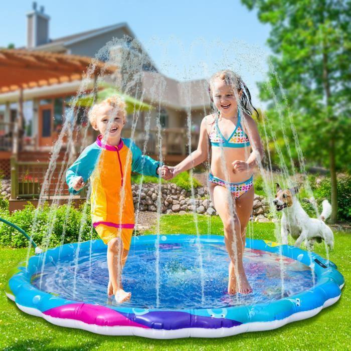 IBASETOY Tapis de Jet d'eau Gonflable enfant PVC Splash tapis de jeu jeu d'eau jouet arroseur pulvérisation d'eau jouet coussin pour
