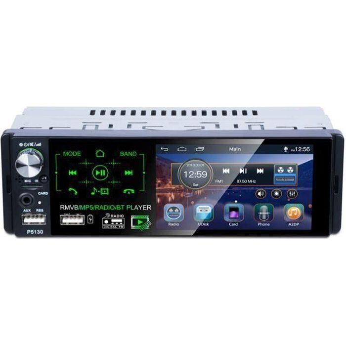 Autoradio Bluetooth Voiture Lecteur MP3 MP5 Multimédia Tactile 1080P Récepteur Radio FM AM RDS Stéréo