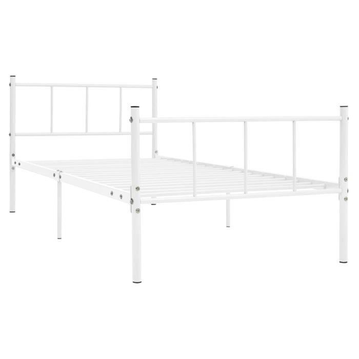 Jardin - Lit adulte Structure de lit Classique - Lit enfant Lit pour 1-2 personnes - Blanc Métal - 100 x 200 cm Style ancien 67053