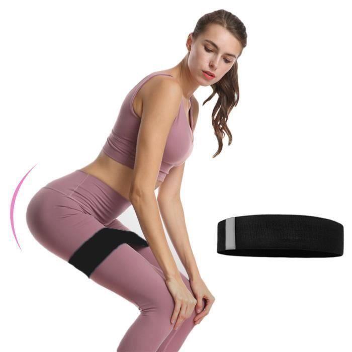 Bande de Résistance 74cm, Bandes Elastique Fitness - Équipement d'Exercices pour Jambes et Fesses, Yoga, Pilates - Noir