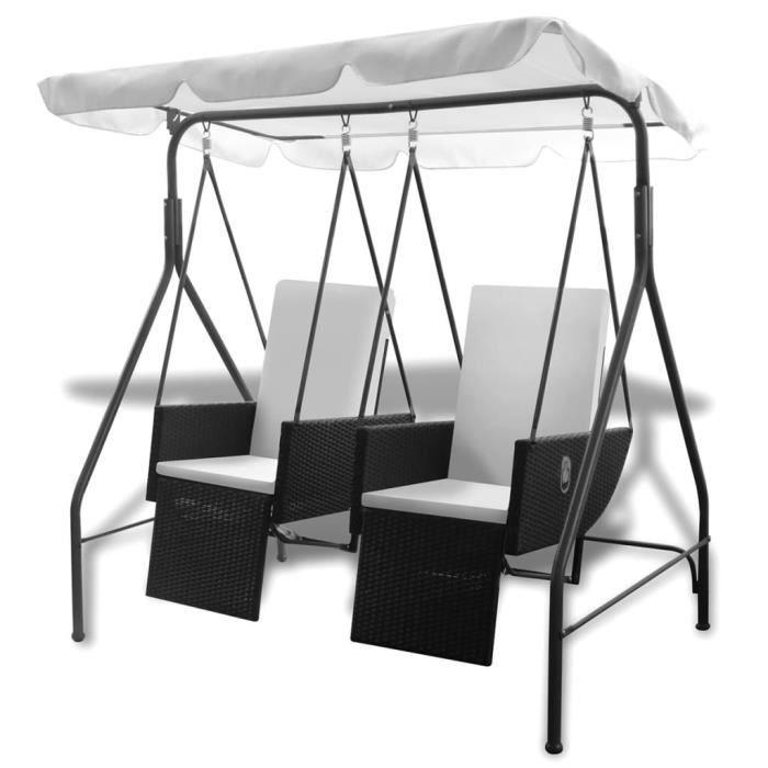 Balancelle de jardin Balancelle d'extérieur- Grand Confort balançoire terrasse balcon 2 places avec auvent Résine tressée Noir