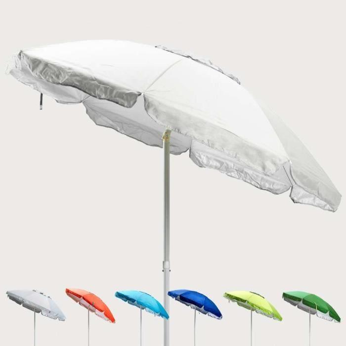 Parasol de plage 200 cm antivent protection uv SARDEGNA - Couleur:Blanc - Argent