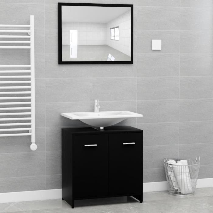 MAISON - Ensemble de SALLE DE BAIN COMPLETE Ensemble de meubles de salle de bain Contemporain Noir Aggloméré🐰9791