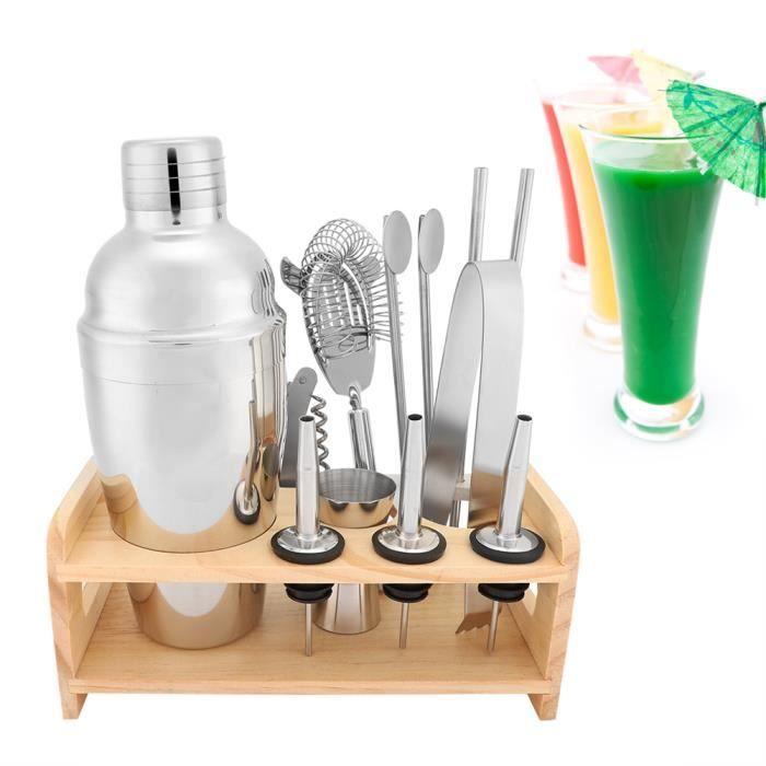 Kit Cocktail Shaker 12 Pièces en Acier Inox Gris HB066