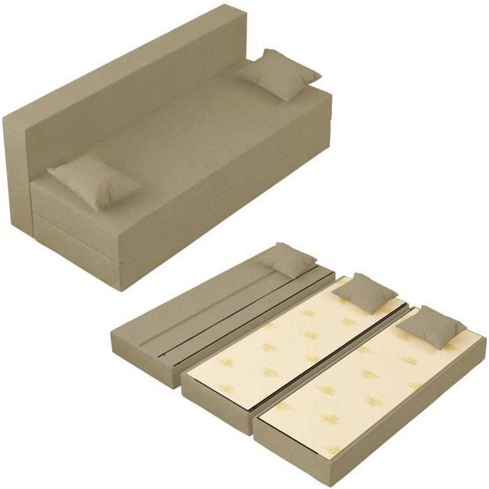 Canapé Lit TreTris Convertible Modulable Réversible 3 places - Tissu dehoussable et lavable Couleur Sable