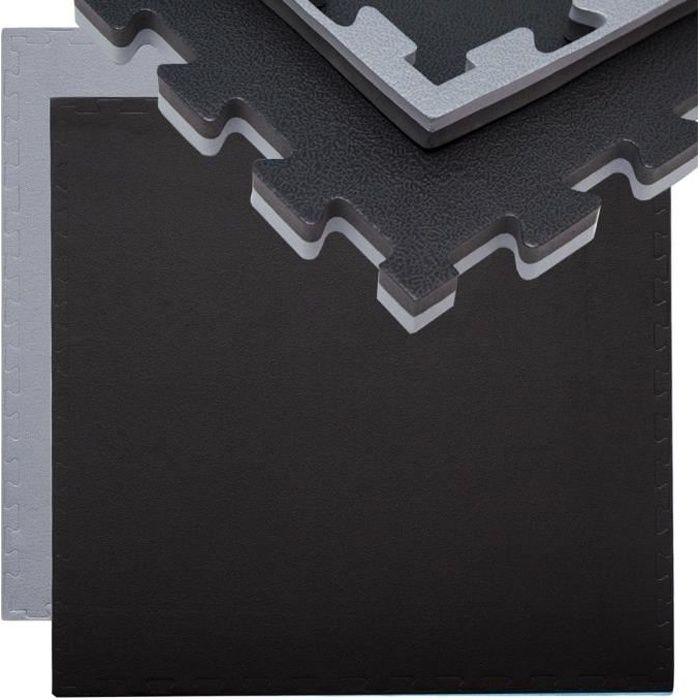 Tapis Puzzle de Fitness Protection Sol de Sport 90x90x2cm Gris Noir