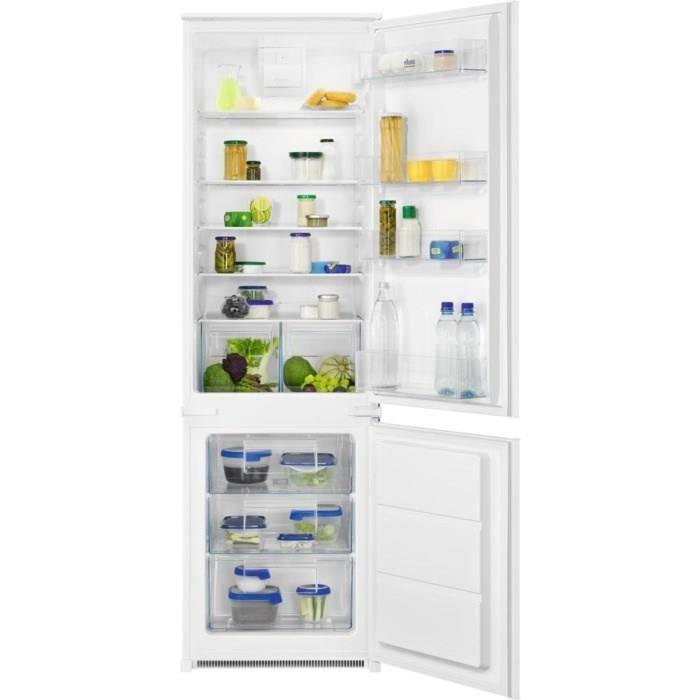 FAURE FNFN18FS1 - Réfrigérateur congélateur bas encastrable - 267L (195+72) - Froid Brassé Statique - L 56cm x H 178cm - Fixati