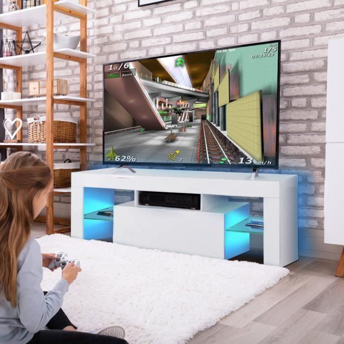 Meuble TV avec LED contemporain blanc laqué brillant - 130 x 35 x 45cm - QUT®