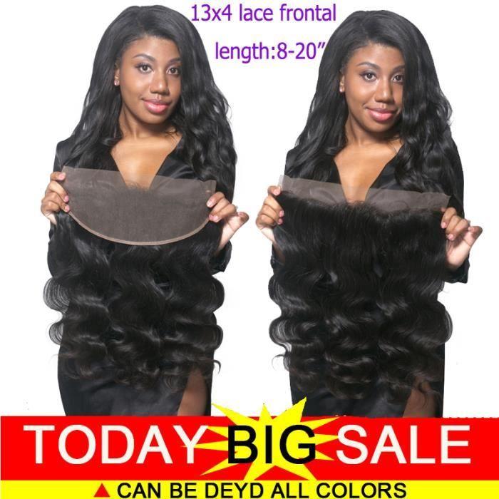 13x4 frontal lace closure body wave Bresiliennes cheveux humains naturel 8 pouces