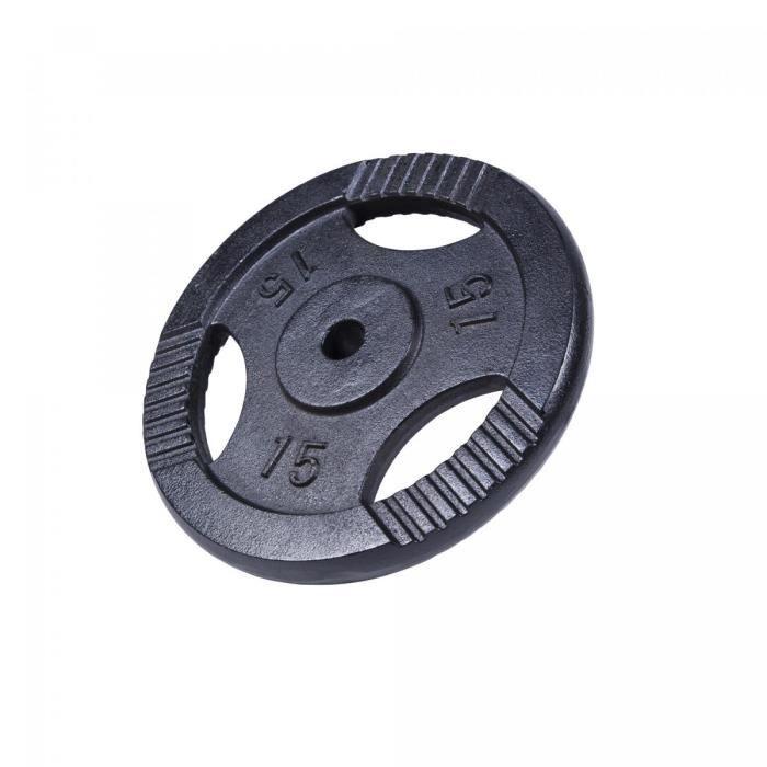 Poids disques en fonte - 31 mm - Noir - 15kg