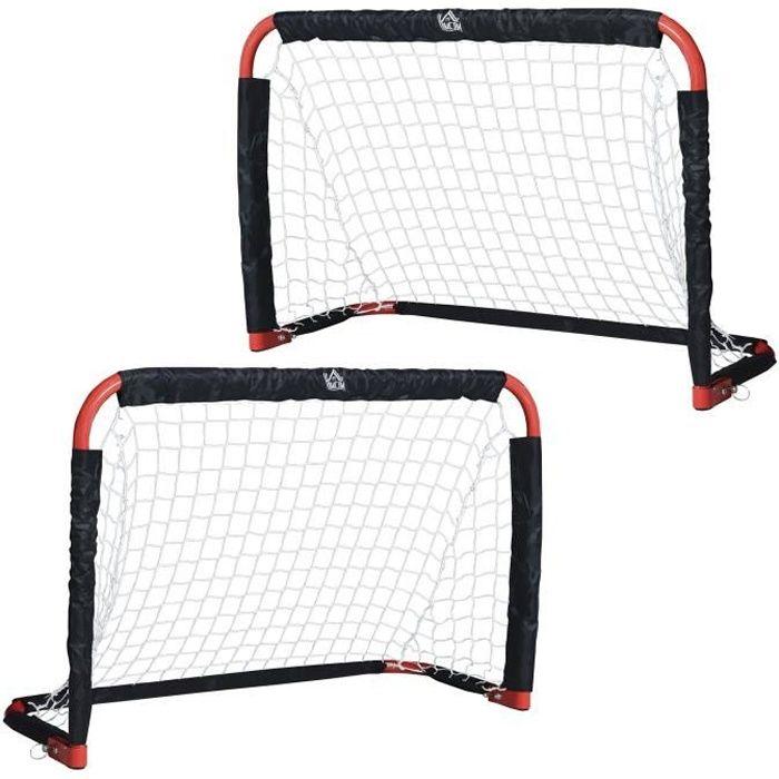 Set de 2 mini cages de football pliables avec filet - dim. 90L x 36l x 60H cm - métal époxy rouge oxford noir 90x36x60cm Rouge