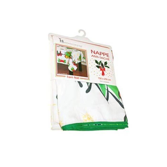 Nappe de Noel rectangulaire 150X 250 cm blanche + motifs de Noel