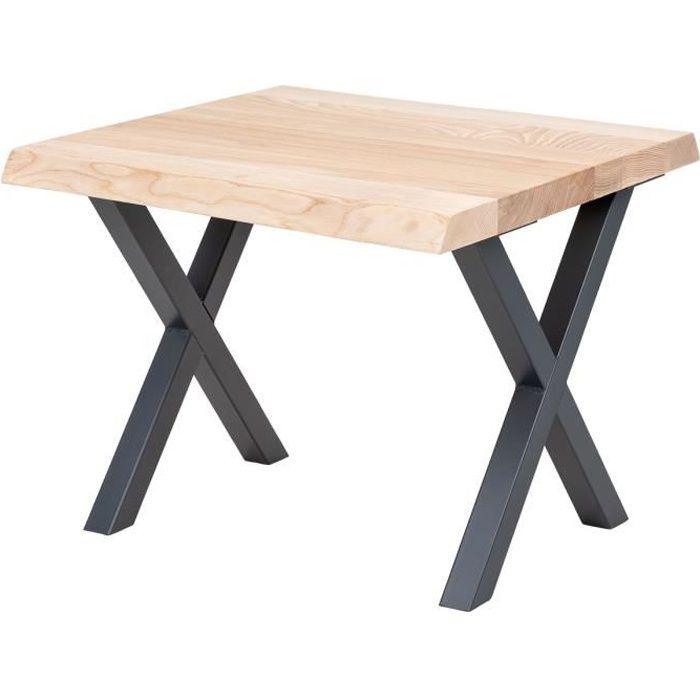 LAMO MANUFAKTUR Table basse en bois - industriel - salon - 60x60x47cm - frêne sévère - pieds métal gris - modèle design