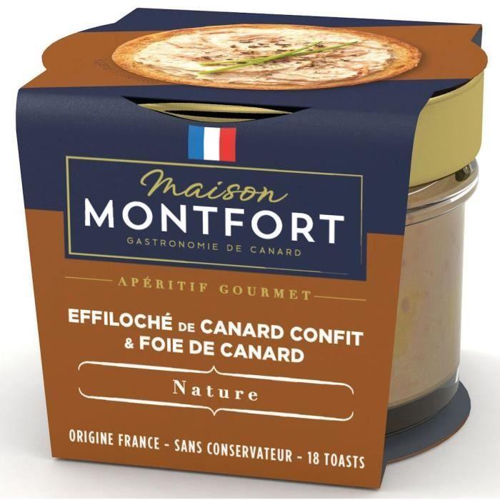 MAISON MONTFORT Effiloché de canard confit au Foie de canard - 90 g