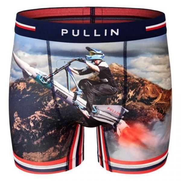 PULL IN Boxer Long Homme Microfibre SUPERSONIC Bleu Rouge