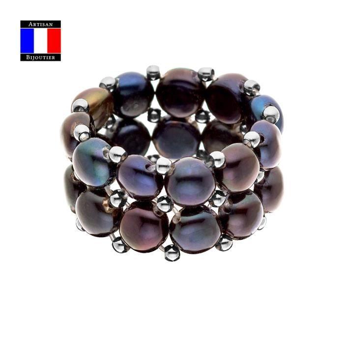 Compagnie Générales des Perles - Bague 2 Rangs - Véritable Perle de Culture d'Eau Douce Bouton Noire - Taille Réglable - Bijou Femme