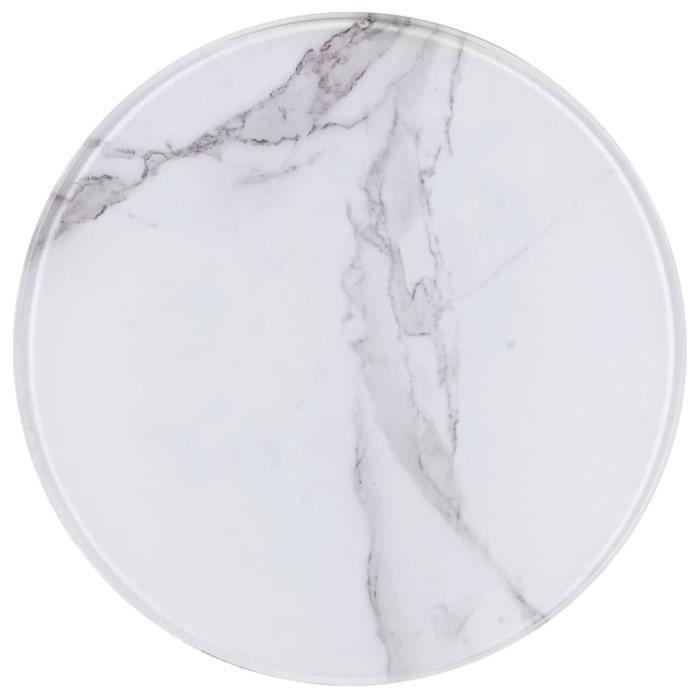 Luxueux Magnifique-Dessus de table Plateaux Blanc ?30 cm Verre avec texture de marbre