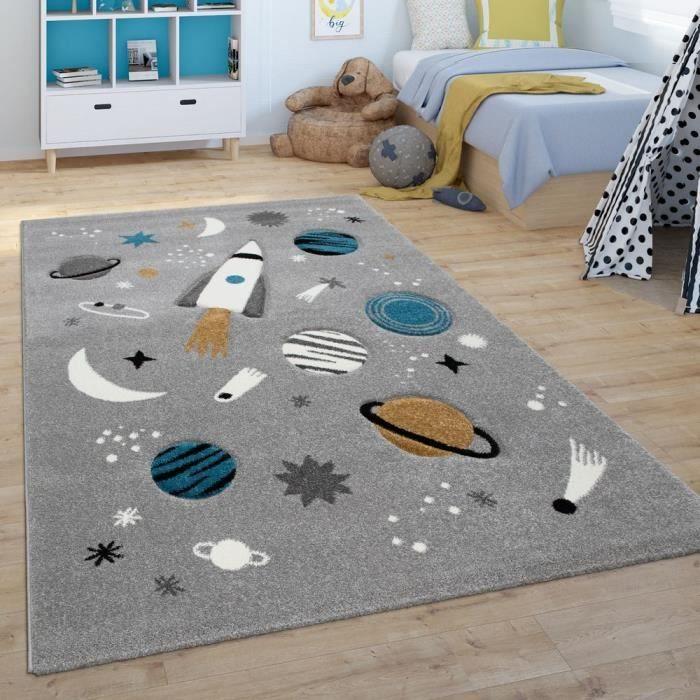 Tapis Pour Enfant, Tapis De Jeu Pour Chambre D'Enfant, Espace, Fusée, Planètes, Gris [80x150 cm]