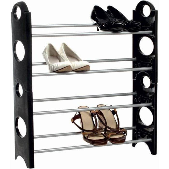 2 Rack à Chaussures Clipsables Noir