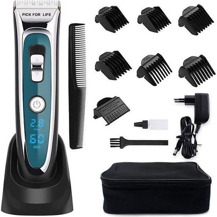 Tondeuse Cheveux Professionnelle Tondeuse Barbe Electrique avec Ecran LCD Sans Fil Rechargeable pour Enfants Adultes Personnes