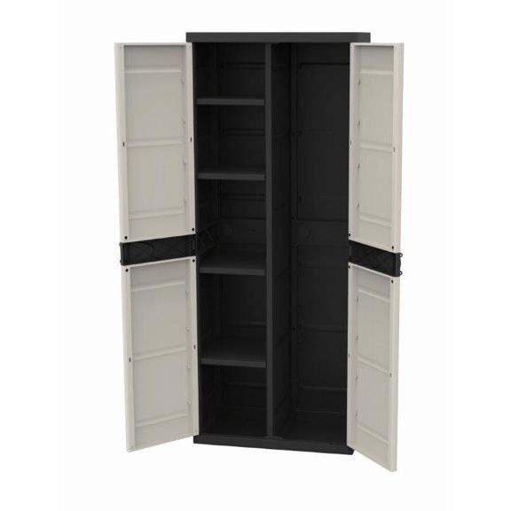 TITANIUM PLASTIKEN Armoire 2 portes avec étagères et penderie l70 x p44 x h176 cm Beige et Noire Gamme TITANIUM Intérieur/Extérieur