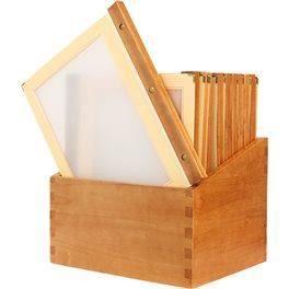20 protège menus bois A4 beiges + boîte